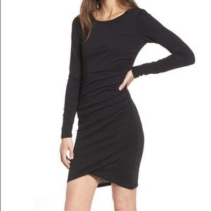 Leith Long sleeve cotton ruched dress.